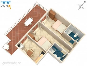 Apartment A-6426-c - Apartments Metajna (Pag) - 6426