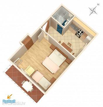 Mimice, Plan u smještaju tipa studio-apartment, WIFI.
