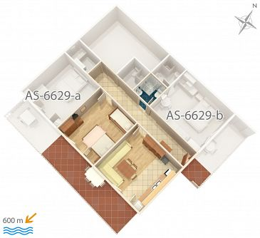 Apartment A-6629-a - Apartments Seline (Paklenica) - 6629