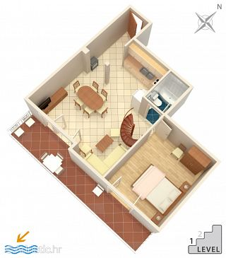 Drvenik Donja vala, Plan u smještaju tipa apartment, dopusteni kucni ljubimci i WIFI.