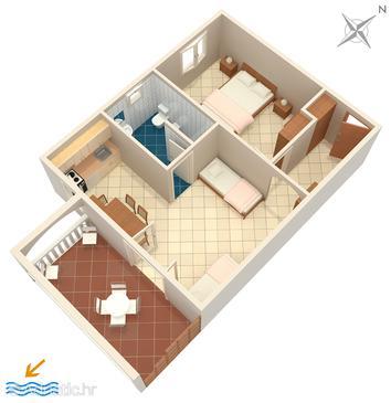 Sumartin, Plan u smještaju tipa apartment, WIFI.