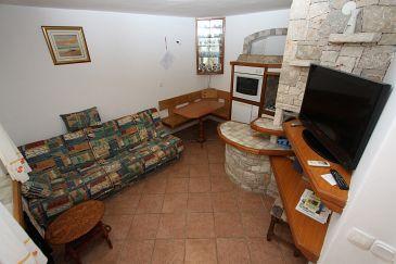Bašanija, Dining room u smještaju tipa apartment, dostupna klima, dopusteni kucni ljubimci i WIFI.