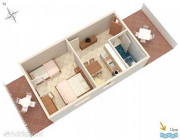 Pučišća, Plan u smještaju tipa apartment, dopusteni kucni ljubimci i WIFI.