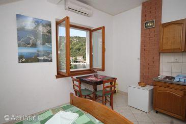 Zaklopatica, Dining room u smještaju tipa studio-apartment, dostupna klima, dopusteni kucni ljubimci i WIFI.