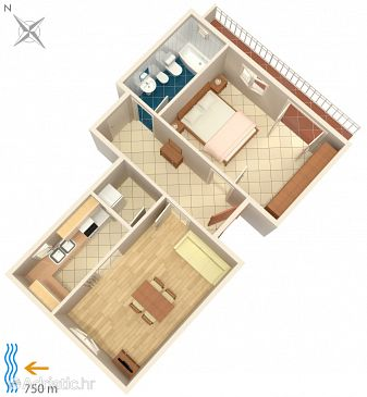 Cavtat, Plan u smještaju tipa apartment, WIFI.