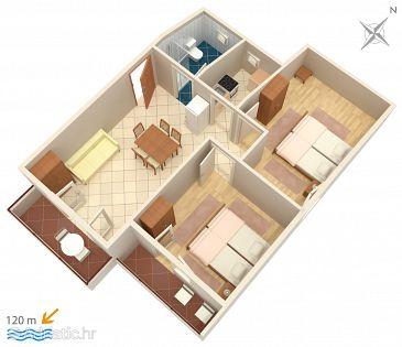 Biograd na Moru, Plan u smještaju tipa apartment, dopusteni kucni ljubimci i WIFI.