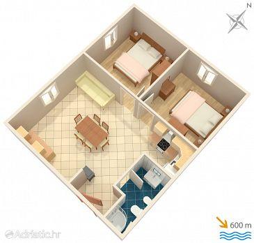 Punta križa, Plan u smještaju tipa apartment, WIFI.