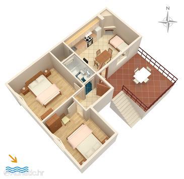 Uvala Zaraće (Dubovica), Plan u smještaju tipa apartment.