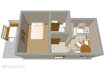 Sali, Plan u smještaju tipa apartment, dopusteni kucni ljubimci i WIFI.