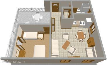 Jadrija, Plan kwatery u smještaju tipa apartment.