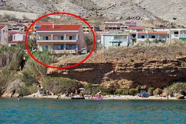 Property Pag (Pag) - Accommodation 9201 - Apartments near sea with pebble beach.