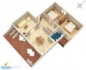 Seget Vranjica, Plan u smještaju tipa apartment, dopusteni kucni ljubimci i WIFI.