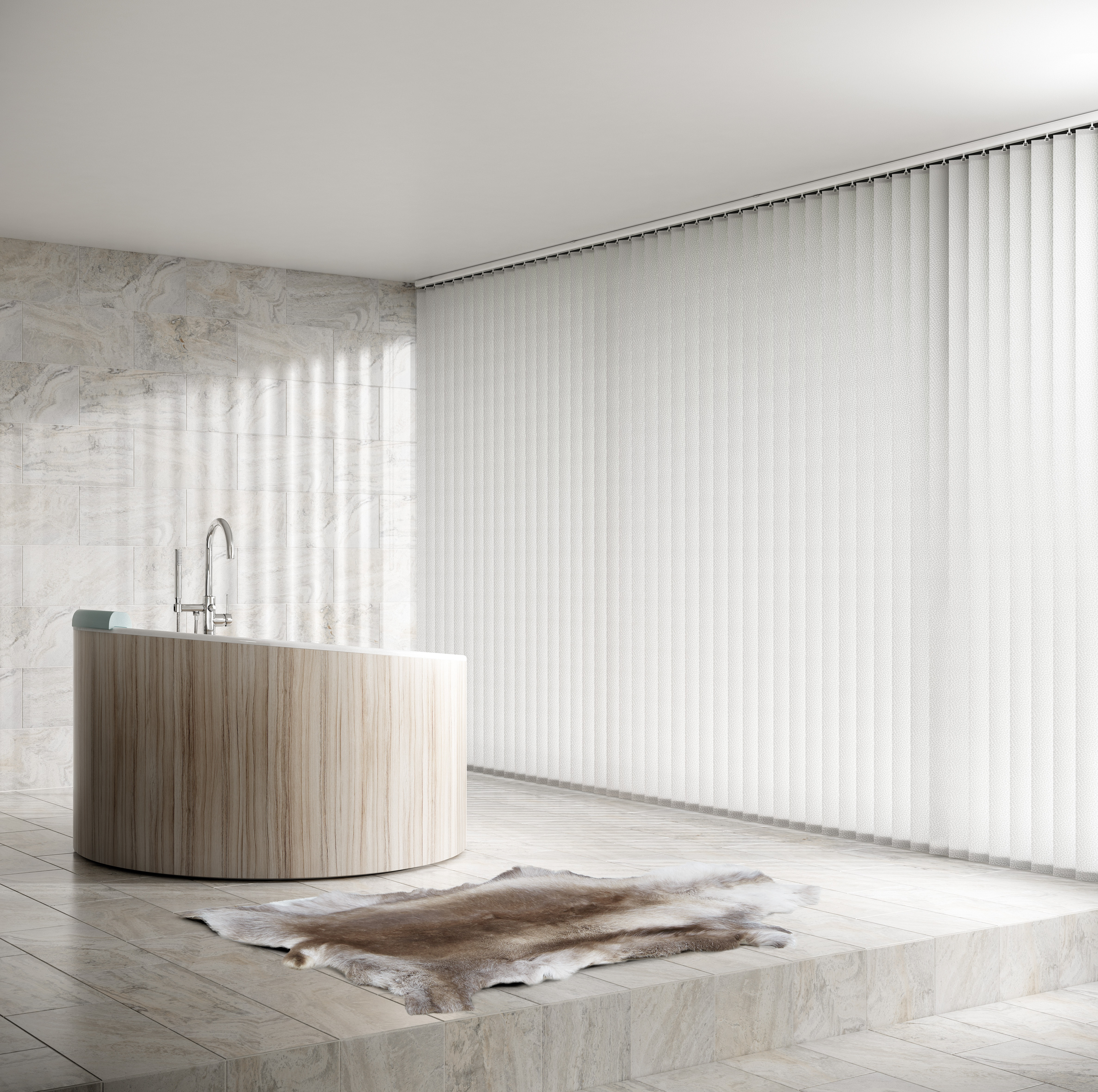 Decora 89mm Fabric Box White Vertical Blind