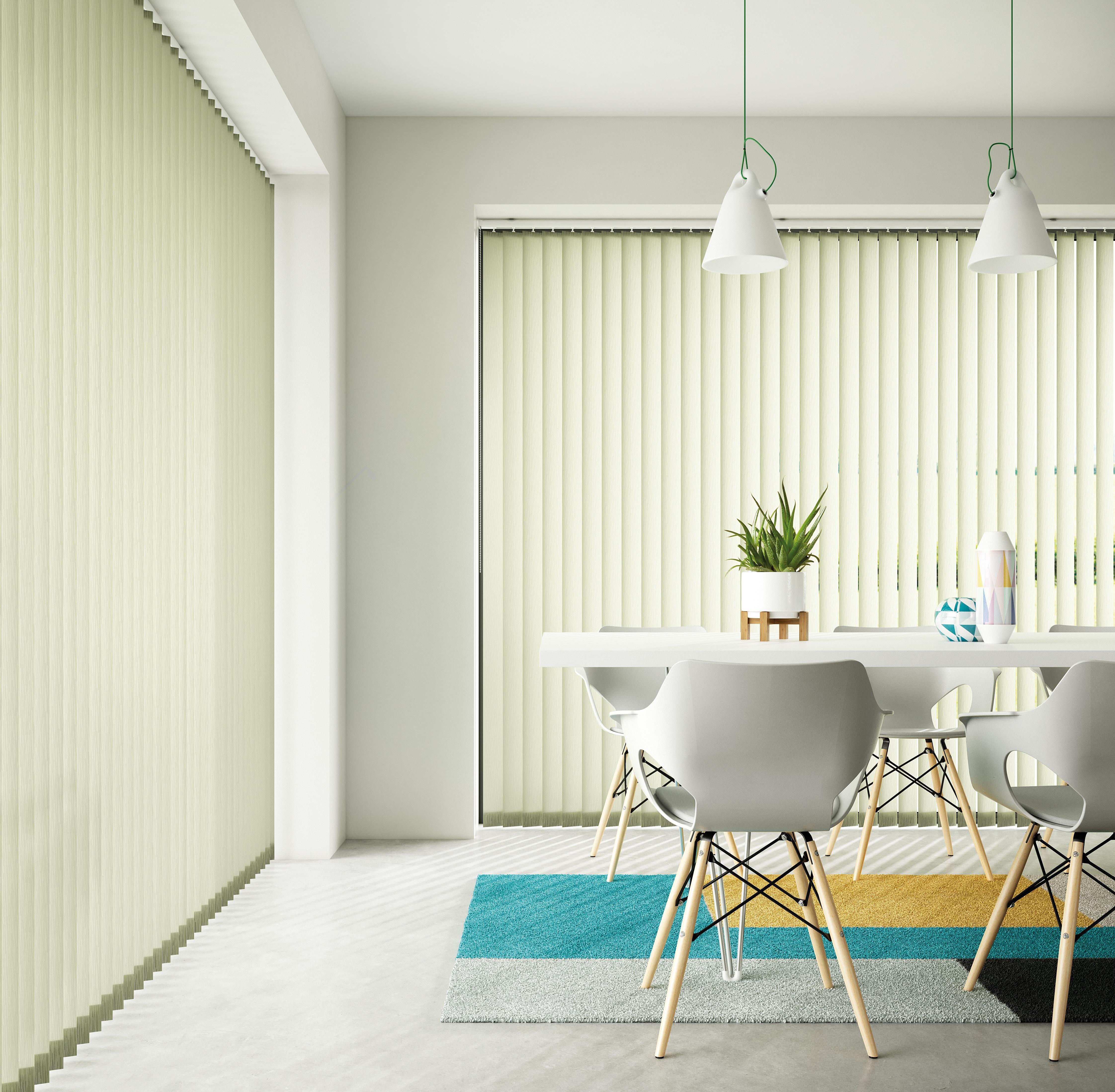 Decora 89mm Fabric Box Yellow-Green Vertical Blind