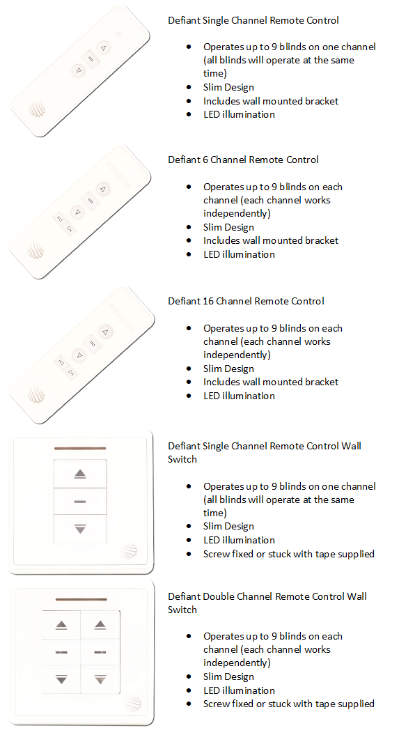 Defiant Remote Controls