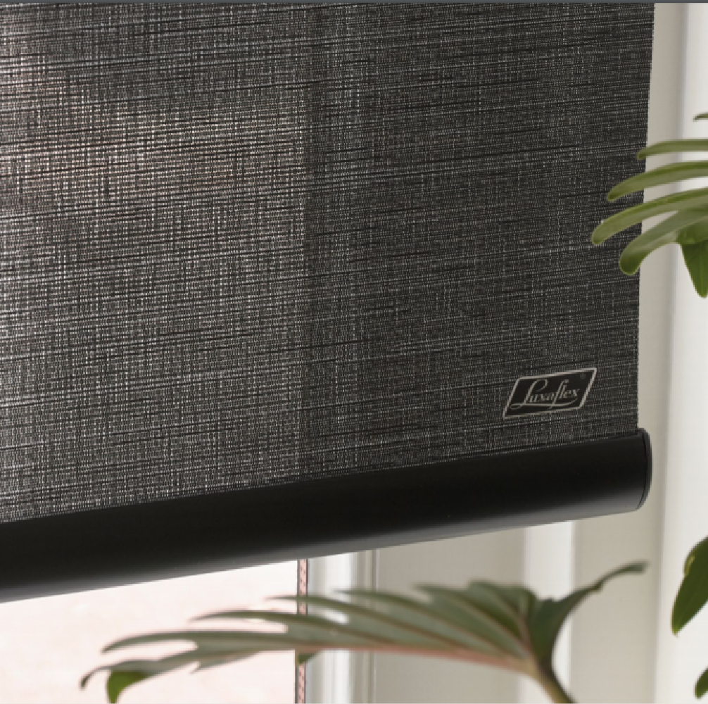 Luxaflex Black bottom rail close up
