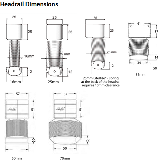 Luxaflex Metal Headrail Dimensions