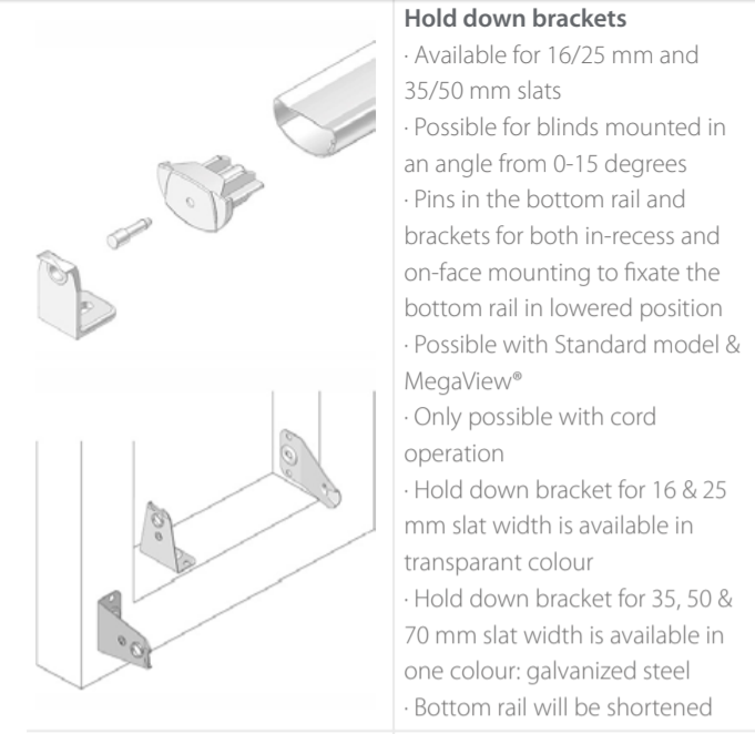 Luxaflex Metal Hold Down Brackets