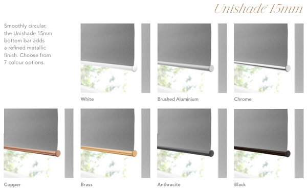 Decora Unishade 15mm bottom rails image