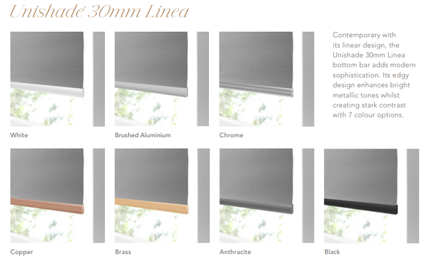 Decora Unishade 30mm Linea bottom rails image