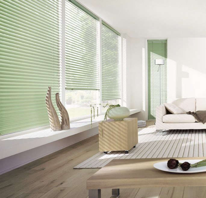Luxaflex 25mm Blue And Green Metal Venetian Blinds Made To Measure