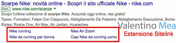 Estensioni Sitelink Google AdWords