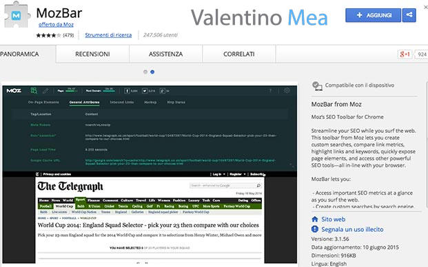 estensione MOZBAR Chrome