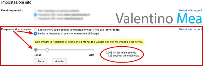Frequenza di scansione massima Google Search Console