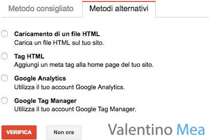 metodi di verifica Google Search Console