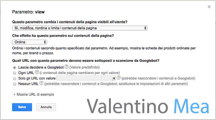 parametri URL Google Search Console