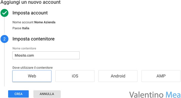 creazione account Google Tag Manager