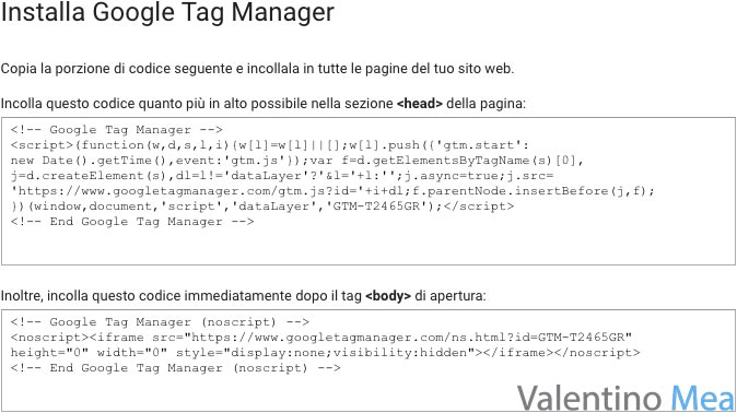 installare tag contenitore Google Tag Manager