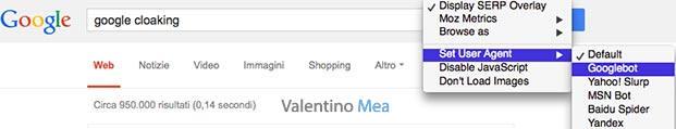 MozBar user agent Googlebot
