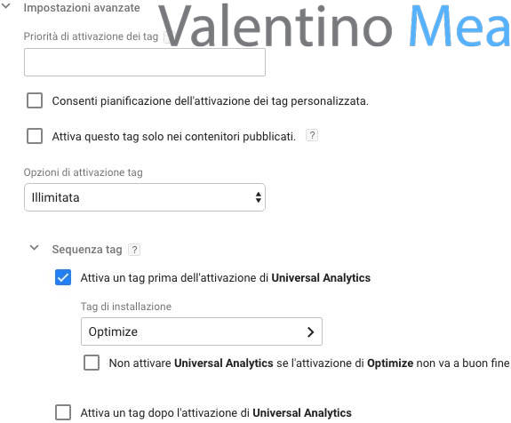 attivare tag Optimize prima di Universal Analytics in Google Tag Manager