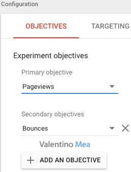 selezione obiettivi in Google Optimize