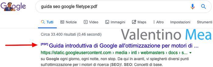 Esempio risultato PDF nella SERP di Google