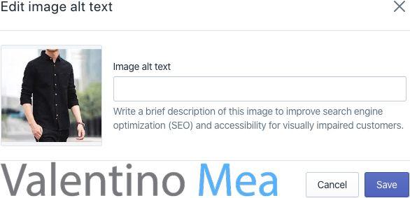 Shopify modificare alt text immagini