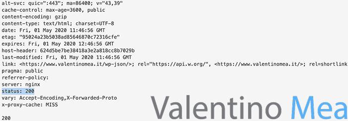 Esempio Status Code HTTP