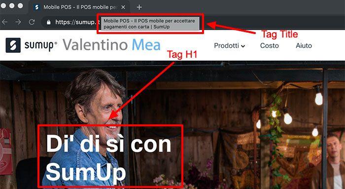 Esempio di tag H1 ottimizzato per la home page