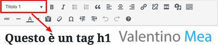 Esempio su come impostare il testo come H1