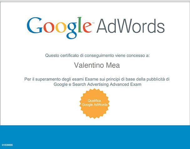 Certificazione Google Adwords di Valentino Mea