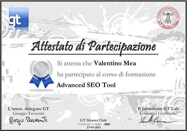 Certificazione Advanced SEO Tools di Valentino Mea