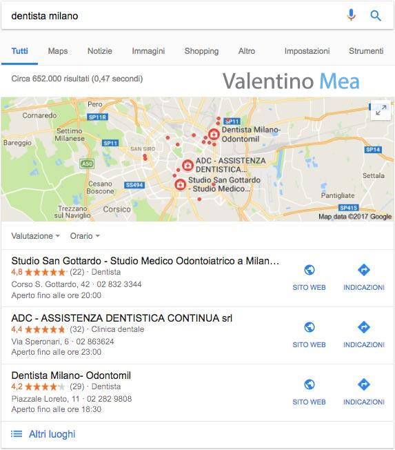esempio Google Maps serp