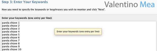 Inserire keywords nel Rank Tracker