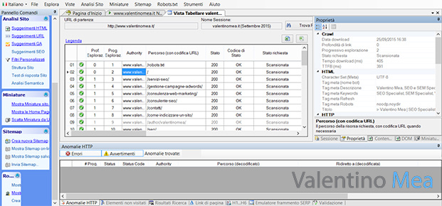 schermate di Visual SEO Studio