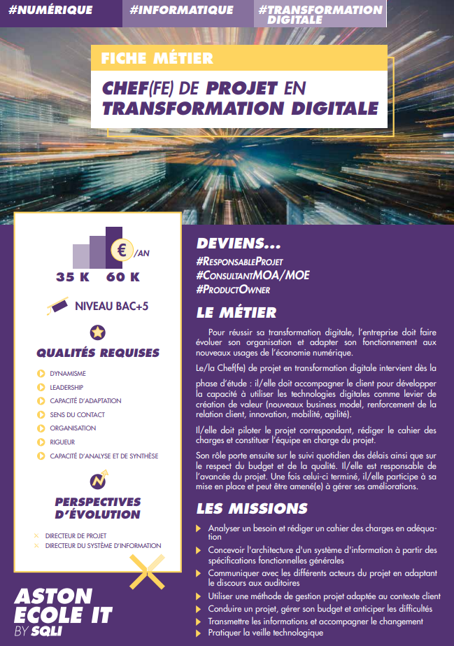 Chef-fe de Projet en Transformation Digitale