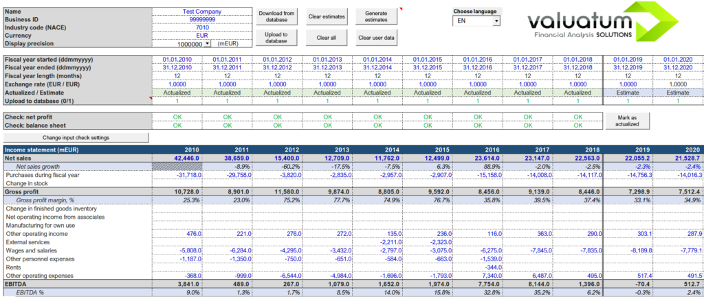 Versatile Excel models allow for easy editing of financial data