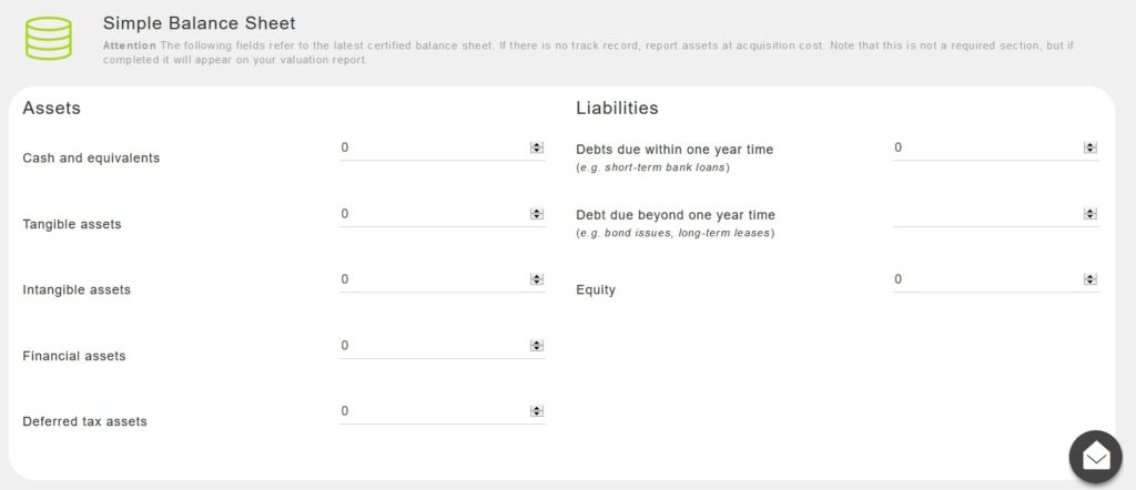 Equidam business valuation calculator balance sheet input