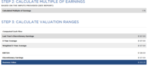 bizex valuation calculator company valuation results