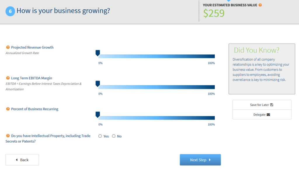 bizequity business valuation calculator growth